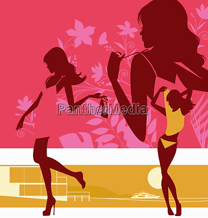 montage of glamorous woman silhouette undressing