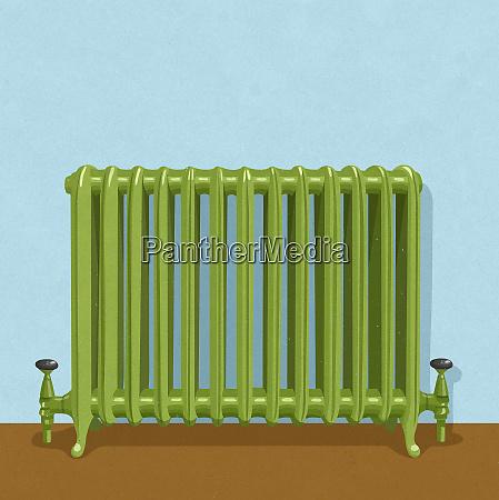 green domestic heating radiator