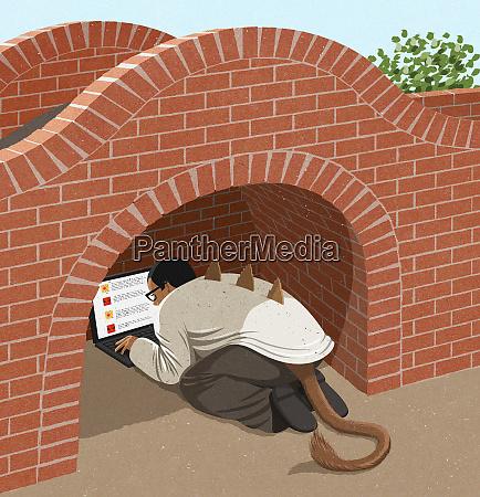man as troll hiding under bridge