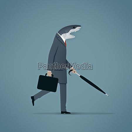 empresario con cabeza de tiburon