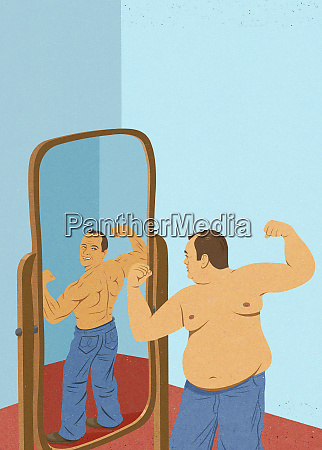 overweight man looking at reflection in