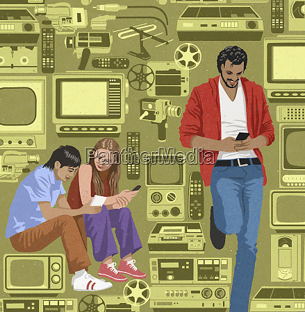 contrasting young people using modern technology