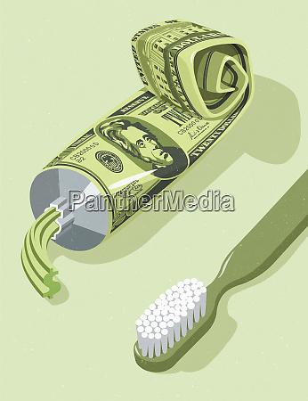tubo de pasta de dientes de