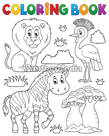 coloring book african nature theme set