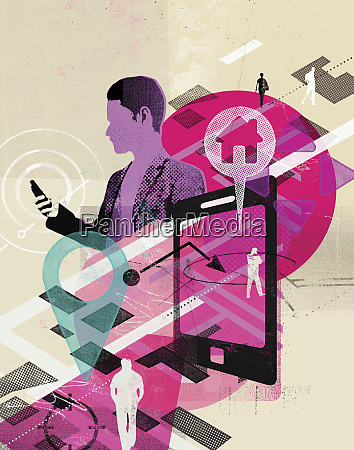 man using global positioning system on