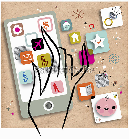 hand choosing among variety of mobile