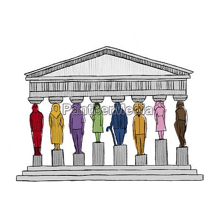 personas diversas como pilares que apoyan