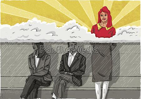contrast between woman standing in the