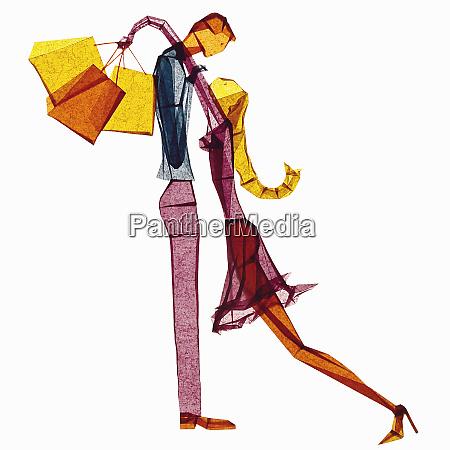 mujer de papel de tejido agotado