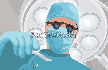 surgeon with binocular magnifiers and scalpel