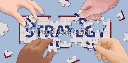 manos cooperando para resolver estrategia