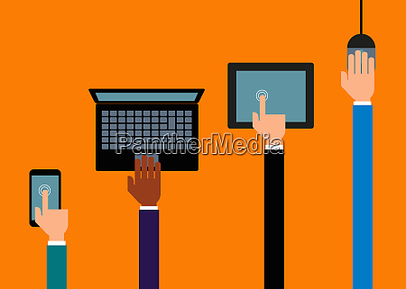 hands using different digital devices in