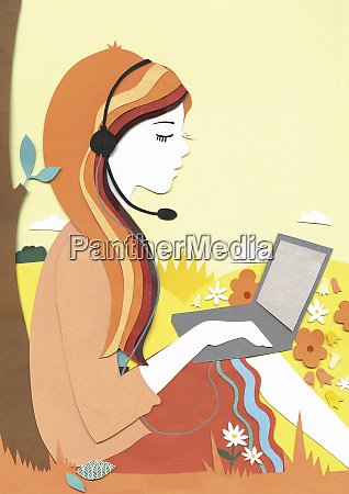 woman working on laptop using hands