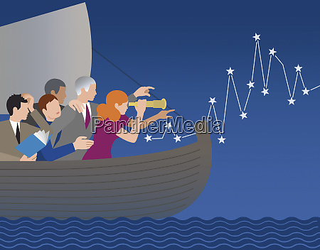 business people lost at sea finding