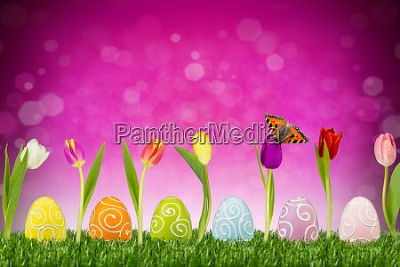 huevos de pascua con tulipanes