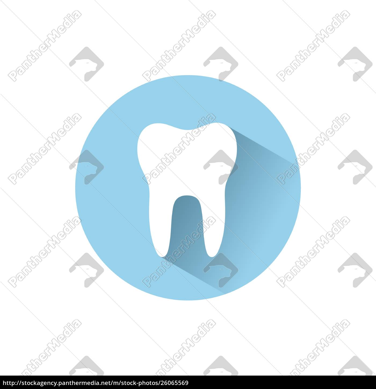 icono, de, diente, plano, con, sombra - 26065569