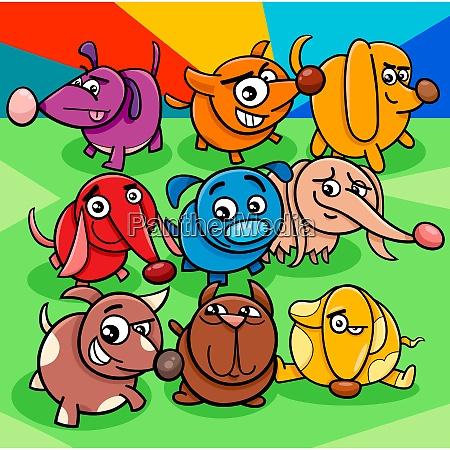 dibujos animados perro colorido grupo de
