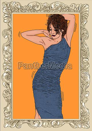 , mujer, erótica, línea, refinada, y, sensual - 26094626
