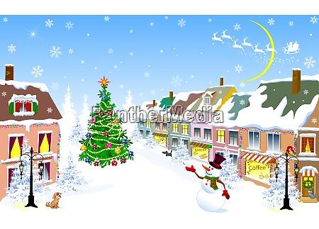 ciudad navidad invierno hombre de nieve