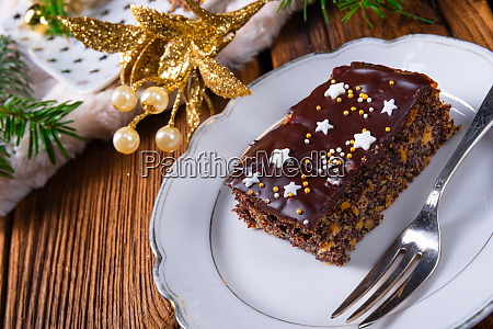 christmas poppy seed cake with chocolate