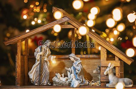 escena del pesebre de navidad con