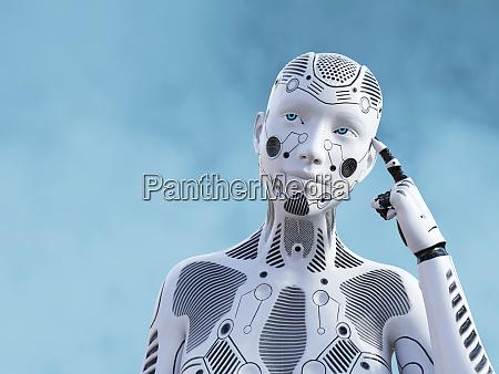renderizado 3d de robot femenino pensando