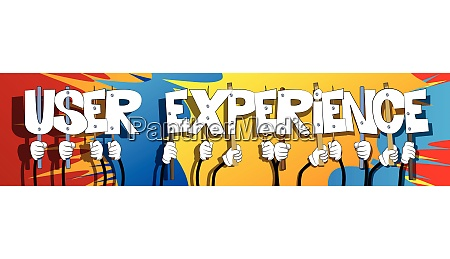 hands holding the words user experience