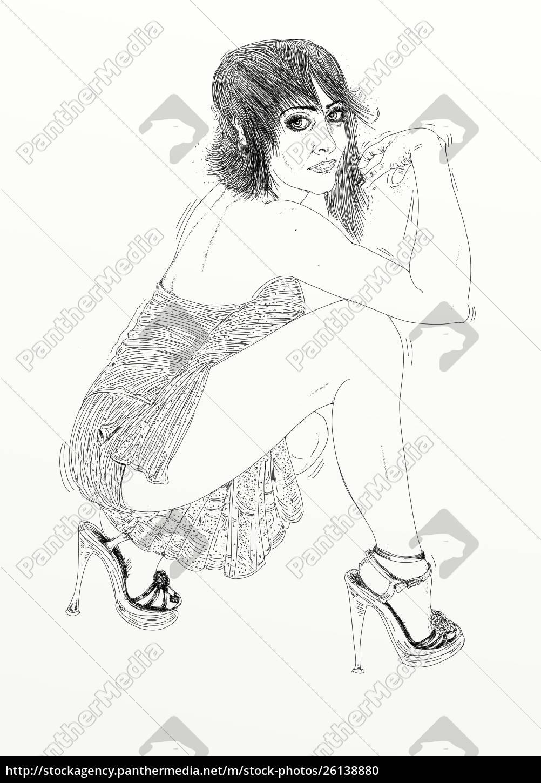, mujer, erótica, línea, refinada, y, sensual - 26138880
