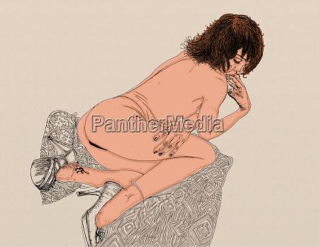 mujer, erótica, línea, refinada, y, sensual, diseñado - 26138901