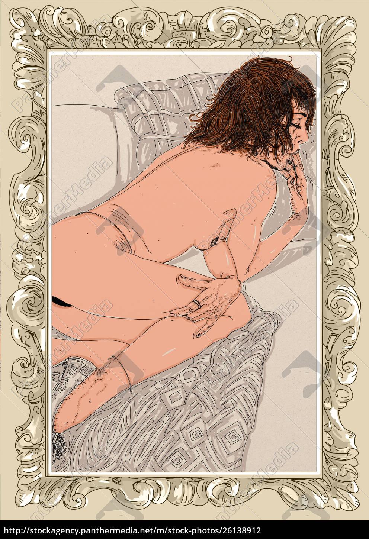mujer, erótica, línea, refinada, y, sensual, diseñado - 26138912