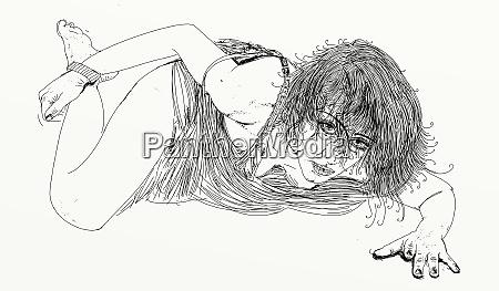 mujer, erótica, línea, refinada, y, sensual, diseñado - 26138920