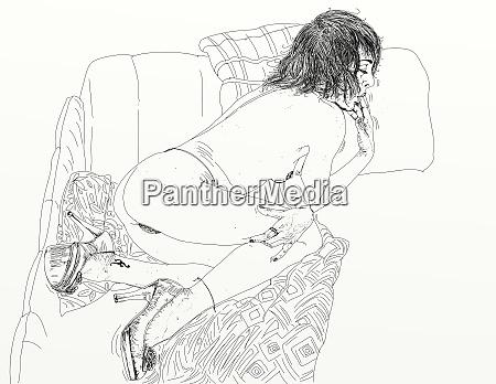 mujer, erótica, refinada, y, sensual, línea, diseñada - 26138895