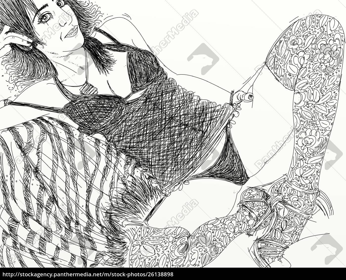 mujer, erótica, refinada, y, sensual, línea, diseñada - 26138898