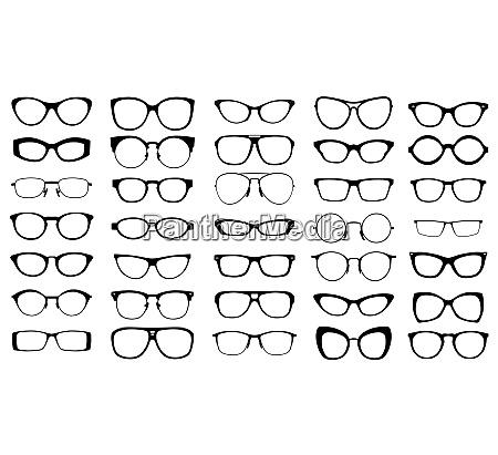 conjunto de gafas vectoriales negras sobre