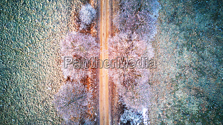 aerial view of frozen road in