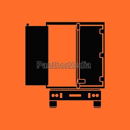truck trailer rear view icon orange