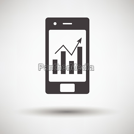 smartphone with analytics diagram icon on