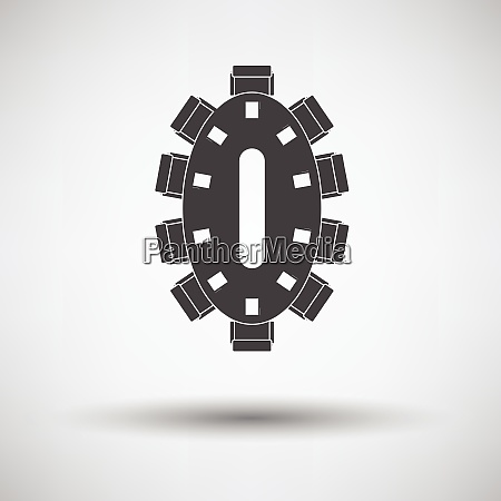 negotiating table icon on gray background