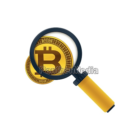 gold colored bitcoin and magnifying glass
