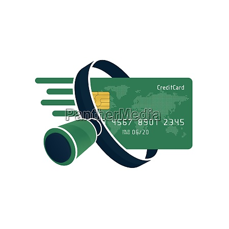 green credit card and black magnifying