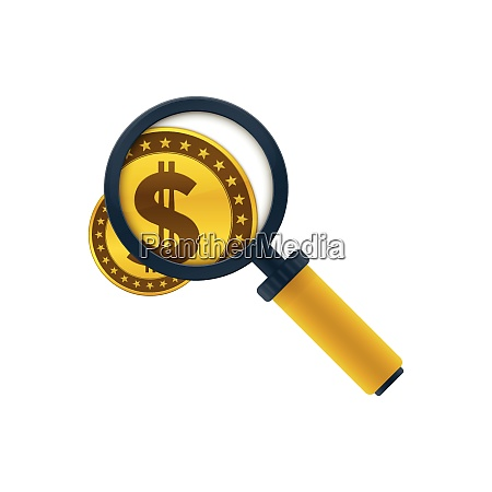 gold colored dollar coin and magnifying