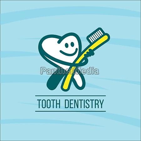 diente de dentista y cepillo de