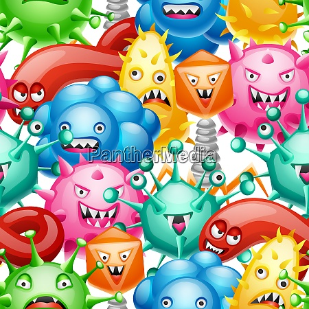 seamless pattern with little angry viruses