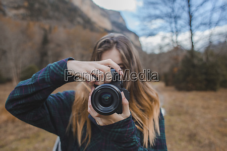 spain young woman with camera in