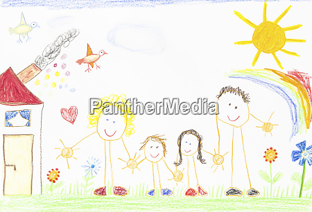 childrenZs drawing happy family with house