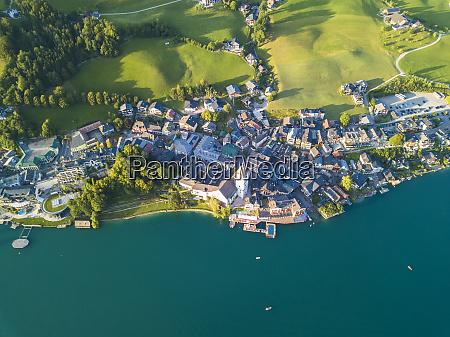austria salzkammergut sankt wolfgang aerial view