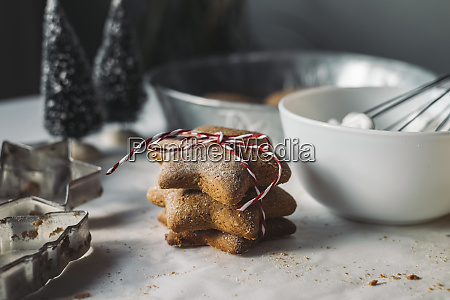 stack of star shaped christmas cookies