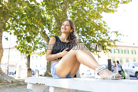 smiling young woman relaxing on a