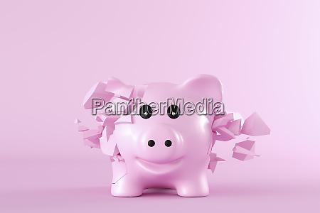 renderizado en 3d piggy bank estallando