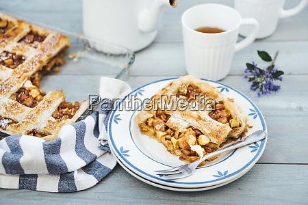 piece of homemade apple tart on
